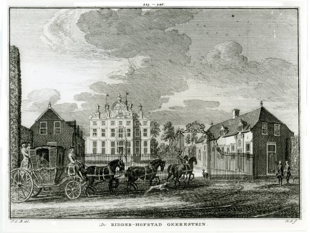Geerestein in Woudenberg. Tekening Jan de Beijer, gravure Hendrik Spilman (Uit: Het Verheerlykt Nederland, Isaac Tirion, 1745/1774)